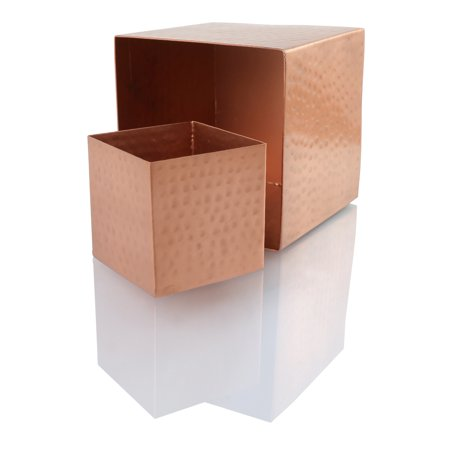 Koyal Wholesale 4-Pack Hammered Copper Square Vases, 4 x4-Inch Centerpiece Copper Cube Vases ()