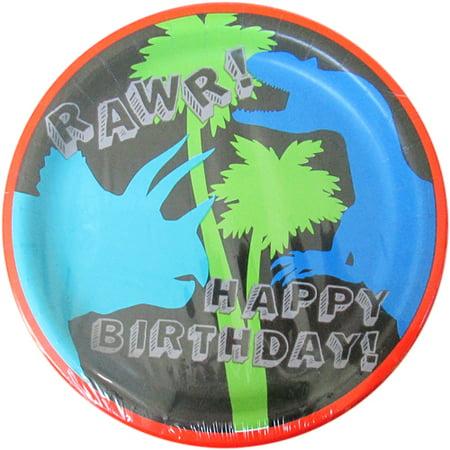 Dinosaur 'Dino-Mite' Large Paper Plates (8ct) - Dinosaur Birthday Plates
