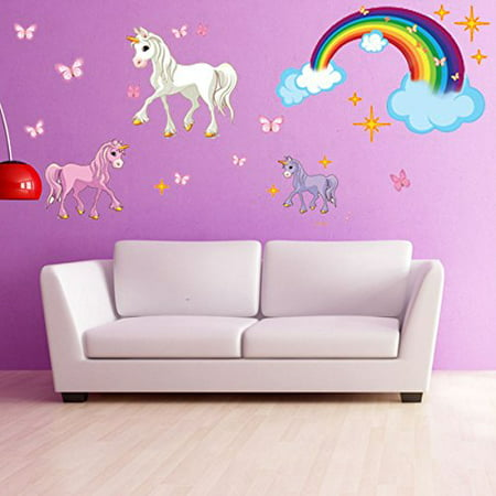 Round Decal Vinyl Sticker (Unicorn Set Wall Decal With Rainbow - Girls Room Wall Decal, Sticker for Girls, Nursery Vinyl Wall Art, Kids Room Decor - DS 886 - 20in x)
