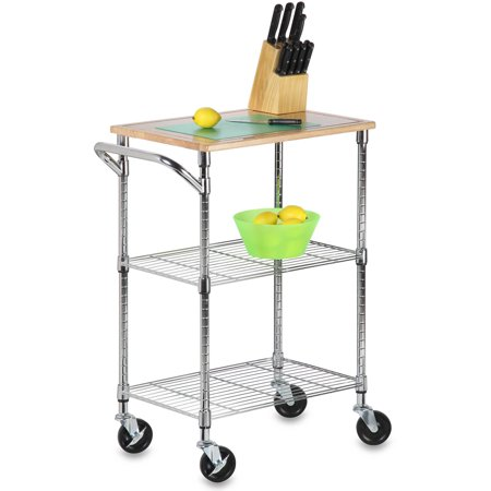 Honey Can Do Urban 2-Tier Rolling Cart with Rubberwood Top, Chrome/Natural