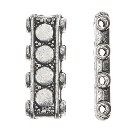 Lead-Free Pewter Beads, 4 Strand Spacer Bar 6x17mm, 6 Pieces, Antiqued -