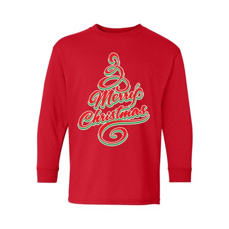 Awkward Styles Ugly Christmas Long Sleeve Shirt for Kids Youth Boys Girls Merry Xmas Tree Shirt ()