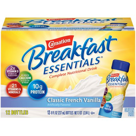 CARNATION BREAKFAST ESSENTIALS Classic French Vanilla 12-8 fl. oz. Bottles 1 Instant Healthy Meal Shake