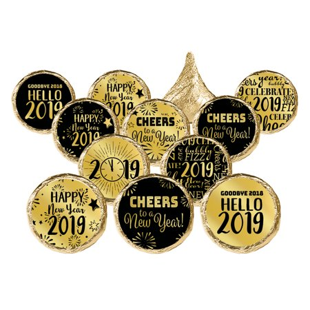 Gold Foil New Years Eve Stickers, 324ct - Black and Gold 2019 New Years Eve Party Candy Favor Labels - 324 - Masquerade New Years Eve Party