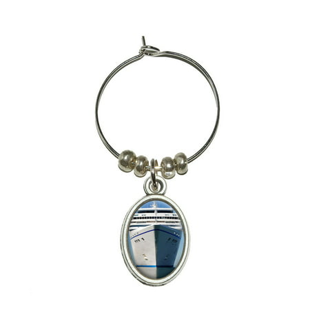 Cruise Ship on Ocean - Vacation Oval Wine Glass Charm