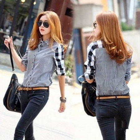 - Women Lady Retro vintage Long Sleeve Casual Graids Jean Denim Shirt Tops Blouse