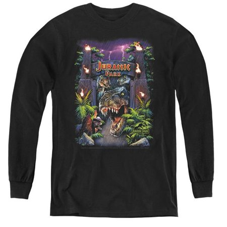 Jurassic Park & Welcome to the Park Youth Long Sleeve T-Shirt, Black - Large - image 1 de 1