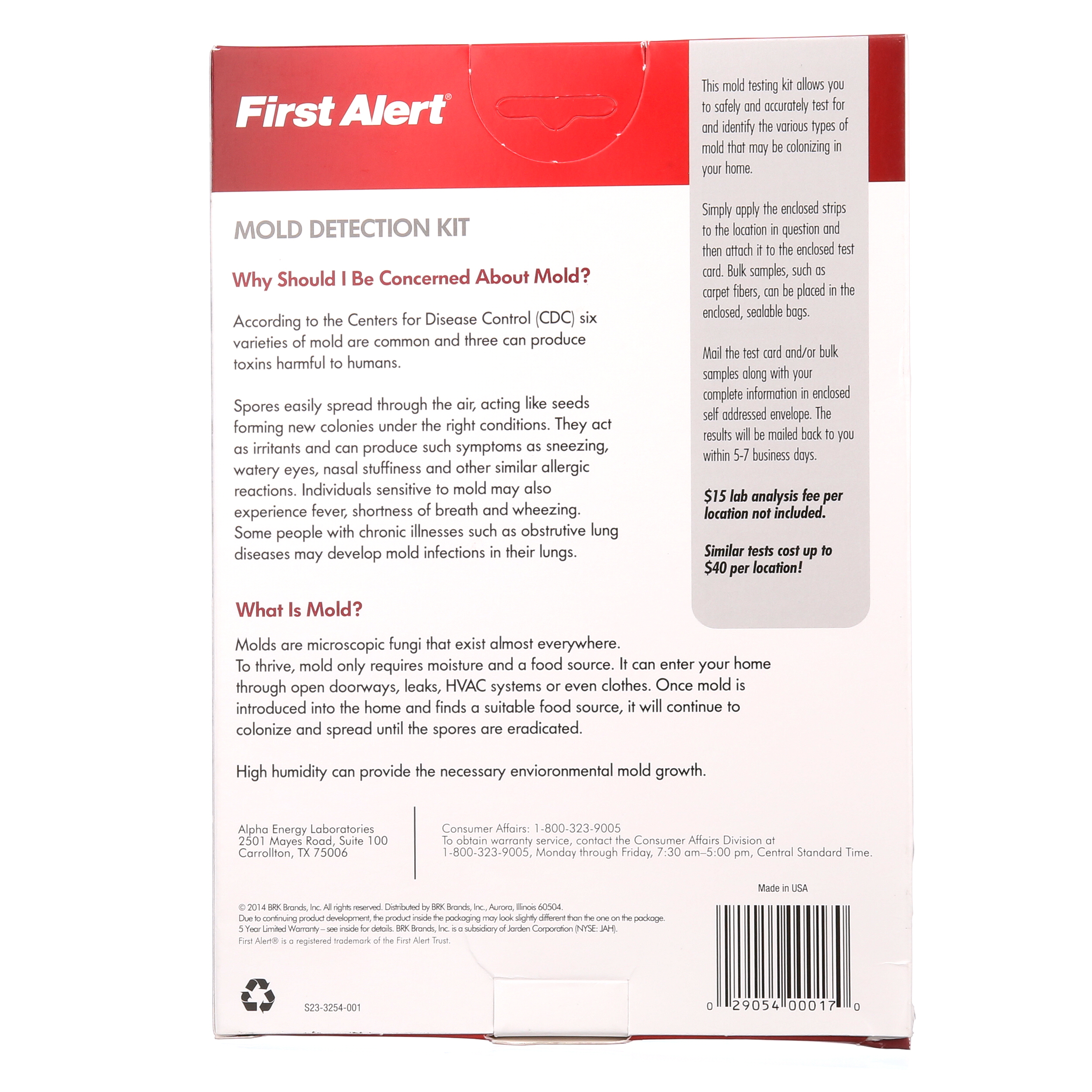 First Alert MT1 Mold Detection Test Kit