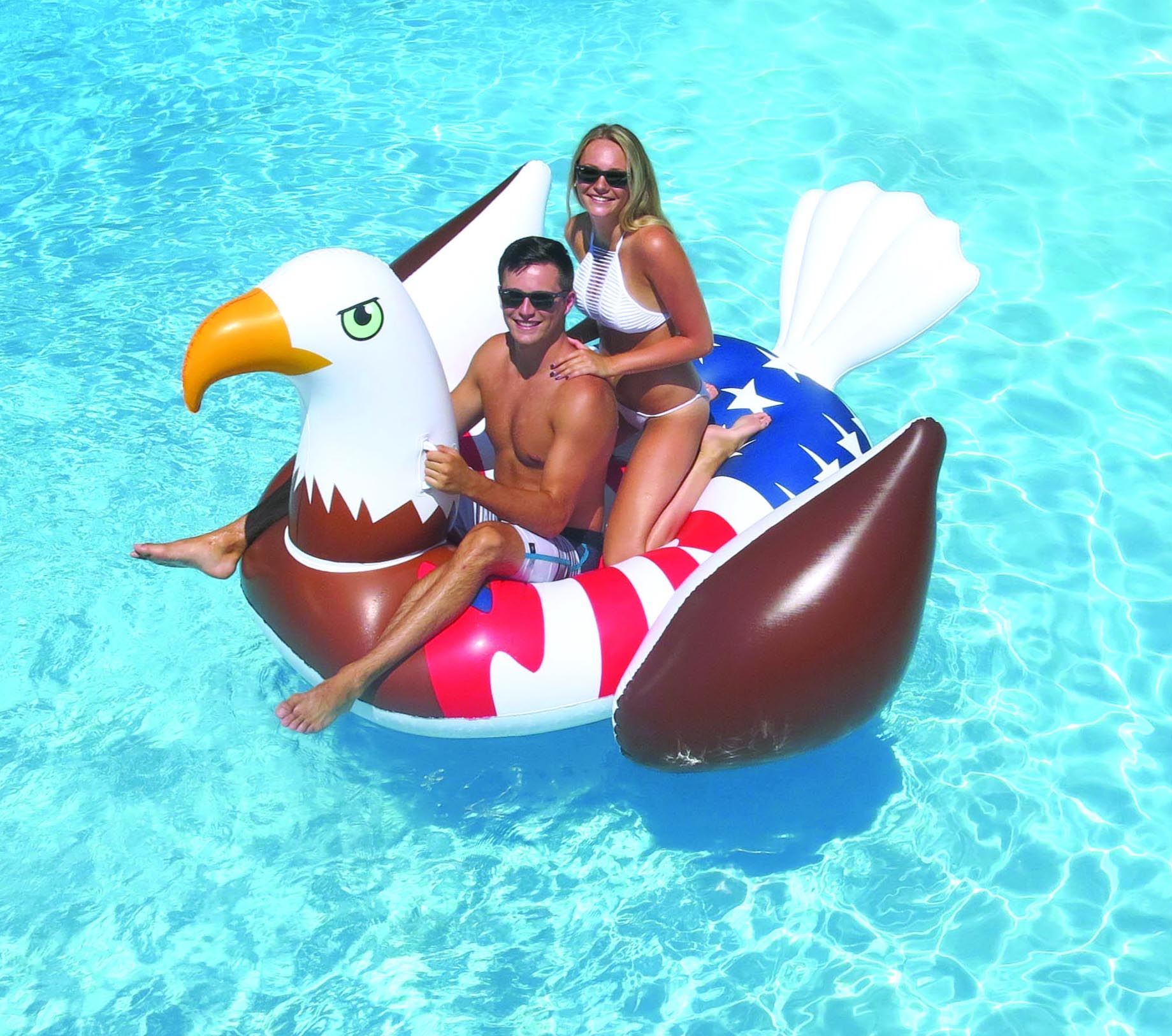 Giant Rideable Patriotic American Bald Eagle Inflatable Swimming Pool Float  Image 3 Of 11