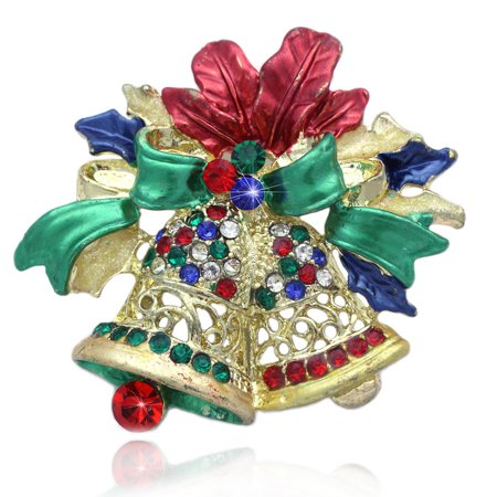 (cocojewelry Christmas Chime Bells Bow Brooch Pin Holiday Jewelry (Multi Color))