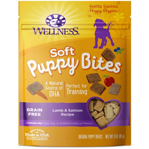 Wellness Puppy Bites Natural Grain Free Soft Puppy Treats, Lamb & Salmon, 3.5-Ounce Bag