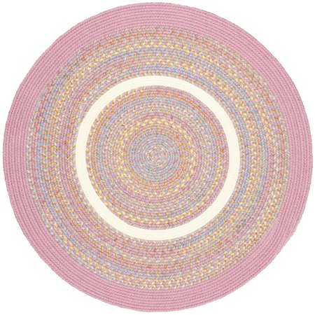 Pink Rug Braided Textured Design 4 Foot Round Soft Kids