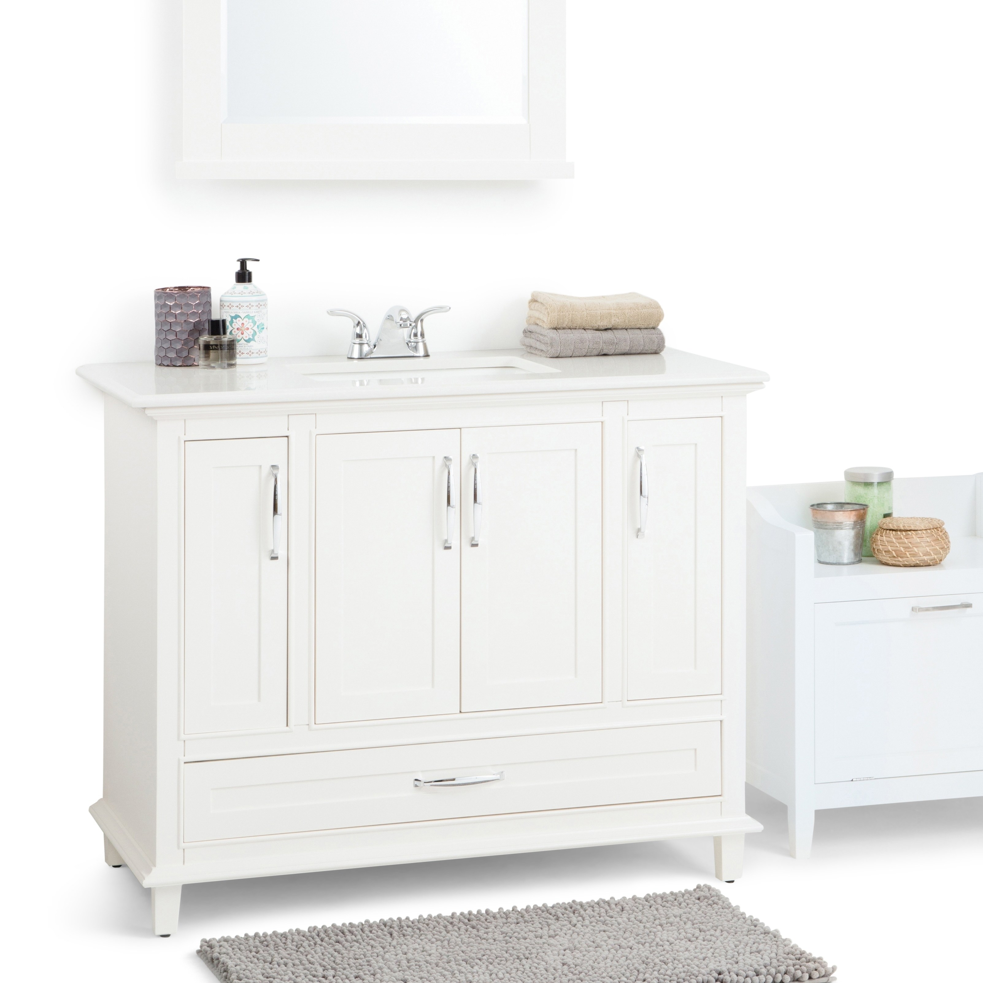 Wyndenhall Newton 20 Inch Bath Vanity In Soft White With Bombay