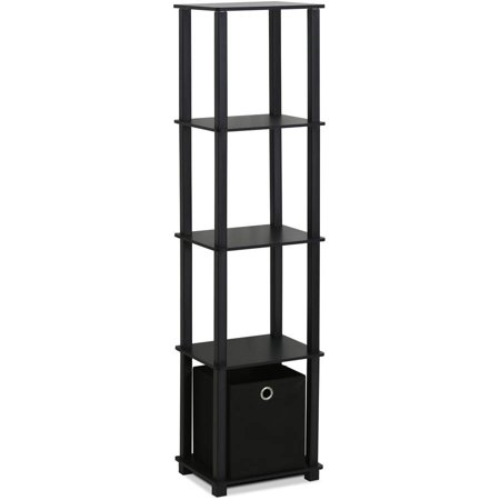 Furinno 15120BKBK TNT No Tools 5-Tier Display Decorative Shelf with 1 Bin, Black