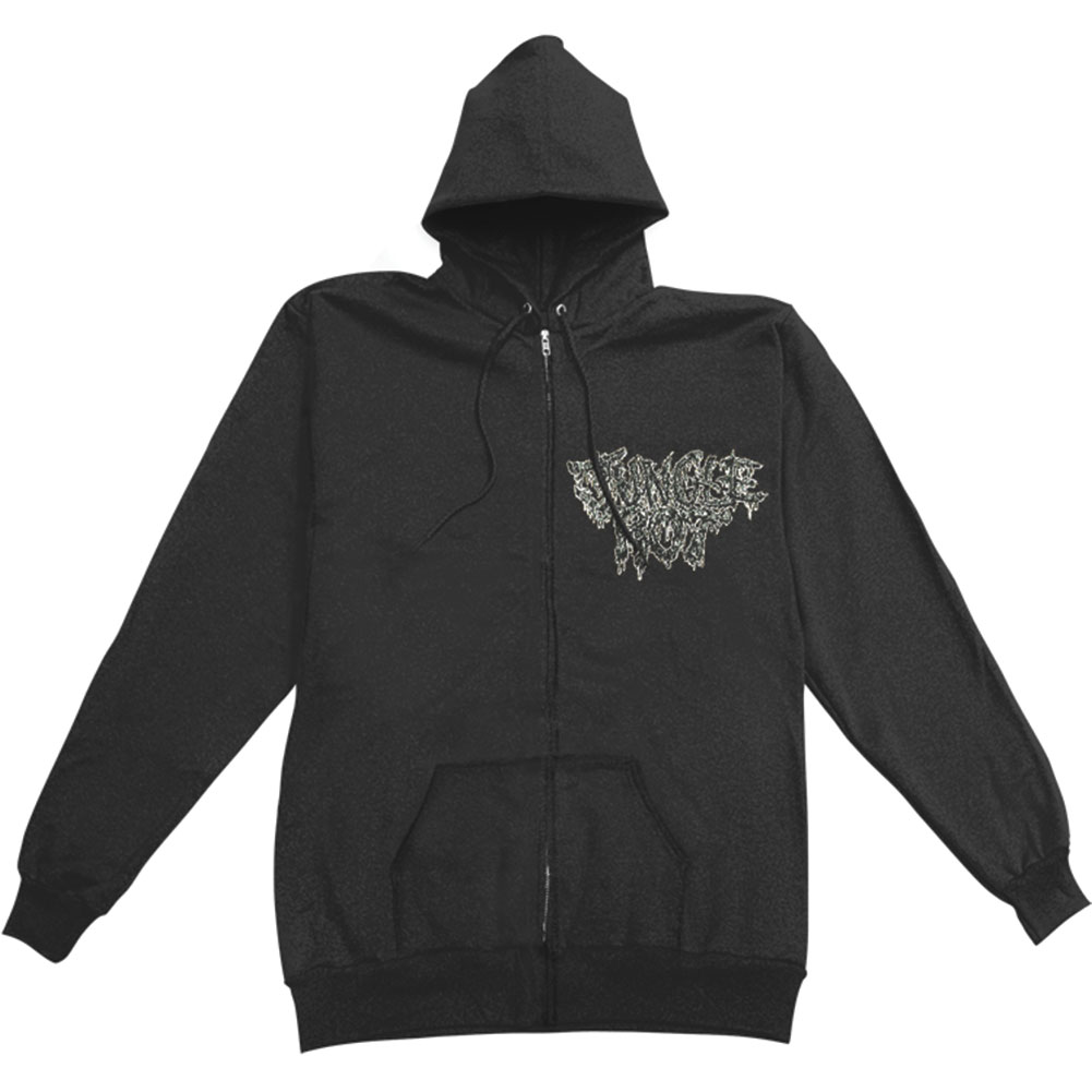 Jungle Rot Men's  Skin The Living Color Zippered Hooded Sweatshirt Black