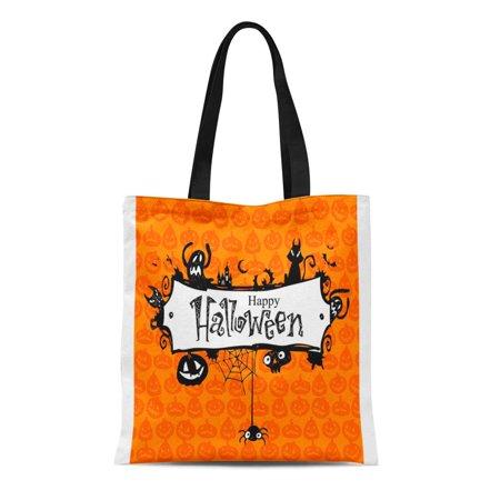 Annoying Orange Halloween Pumpkin (LADDKE Canvas Tote Bag Orange Border Halloween Red Pumpkin Pattern Lantern Vintage Jack Durable Reusable Shopping Shoulder Grocery)