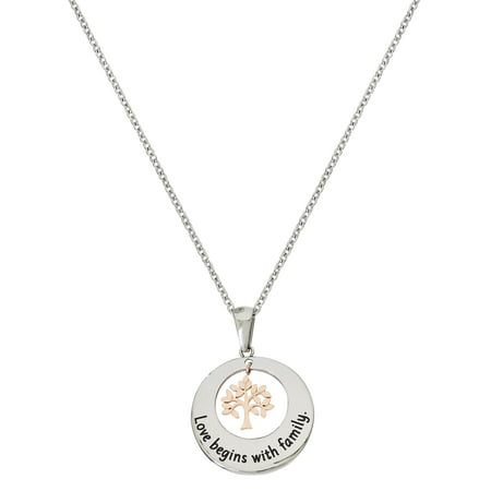 Stainless Steel Round Dangling Tree of Life Pendant, 18