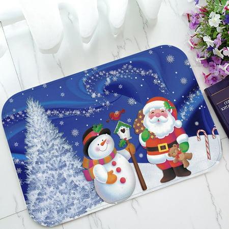 GCKG Merry Christmas Xmas Santa Claus Snowman Non-Slip Doormat Indoor/Outdoor/Bathroom Doormat 23.6 x 15.7 Inches - Snowman Classroom Door Decorations