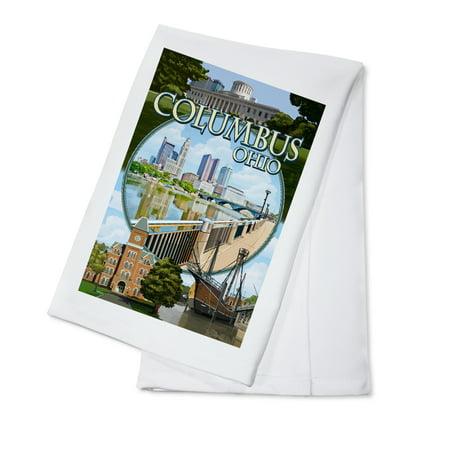 Columbus, Ohio - Montage Scenes - Lantern Press Poster (100% Cotton Kitchen - Party Supplies Columbus Ohio