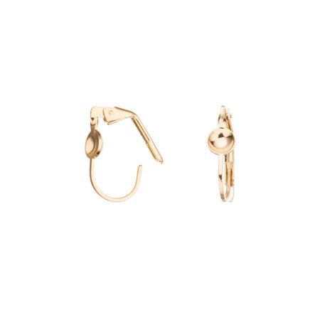 Clip On Earring With 6mm Bezel Setting 14K Gold Finished Brass 17.5x10mm Sold per pkg of