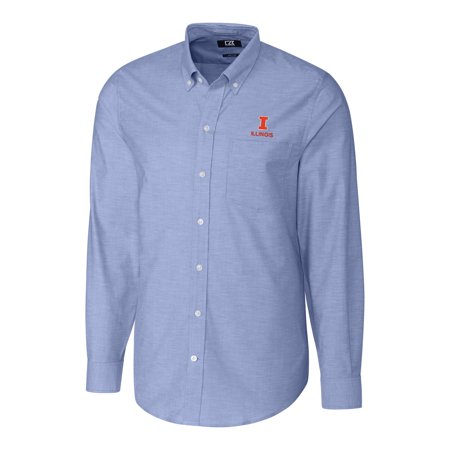 Fighting Illini Oxford (Illinois Fighting Illini Cutter & Buck Stretch Oxford Big & Tall Long Sleeve Button-Down Shirt - Blue)
