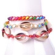 Wink International Handmade Thai-handicraft Set of 3 Multicolored Wood Beads and Sea Shells Waxcord Bracelets (Thailand)