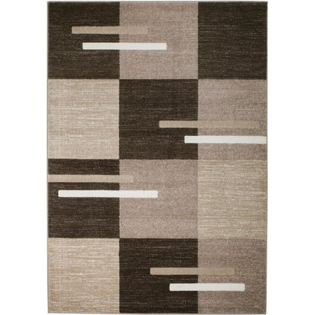 Rio Collection - Brown Geometric Boxed Retro Design Premium Area Rug by Rug and Decor 2x7 Runner (Jordan Retro Collection)