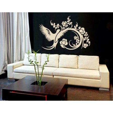 Bird & Vine Wall Decal - floral wall decal, sticker, mural vinyl art home decor - 1084 - White, 16in x 10in