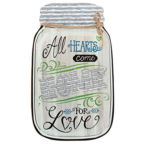 "Barnyard Designs Rustic All Hearts Come Home For Love Mason Jar Decorative Wood and Metal Wall Sign Vintage Country Decor 14""x9"""