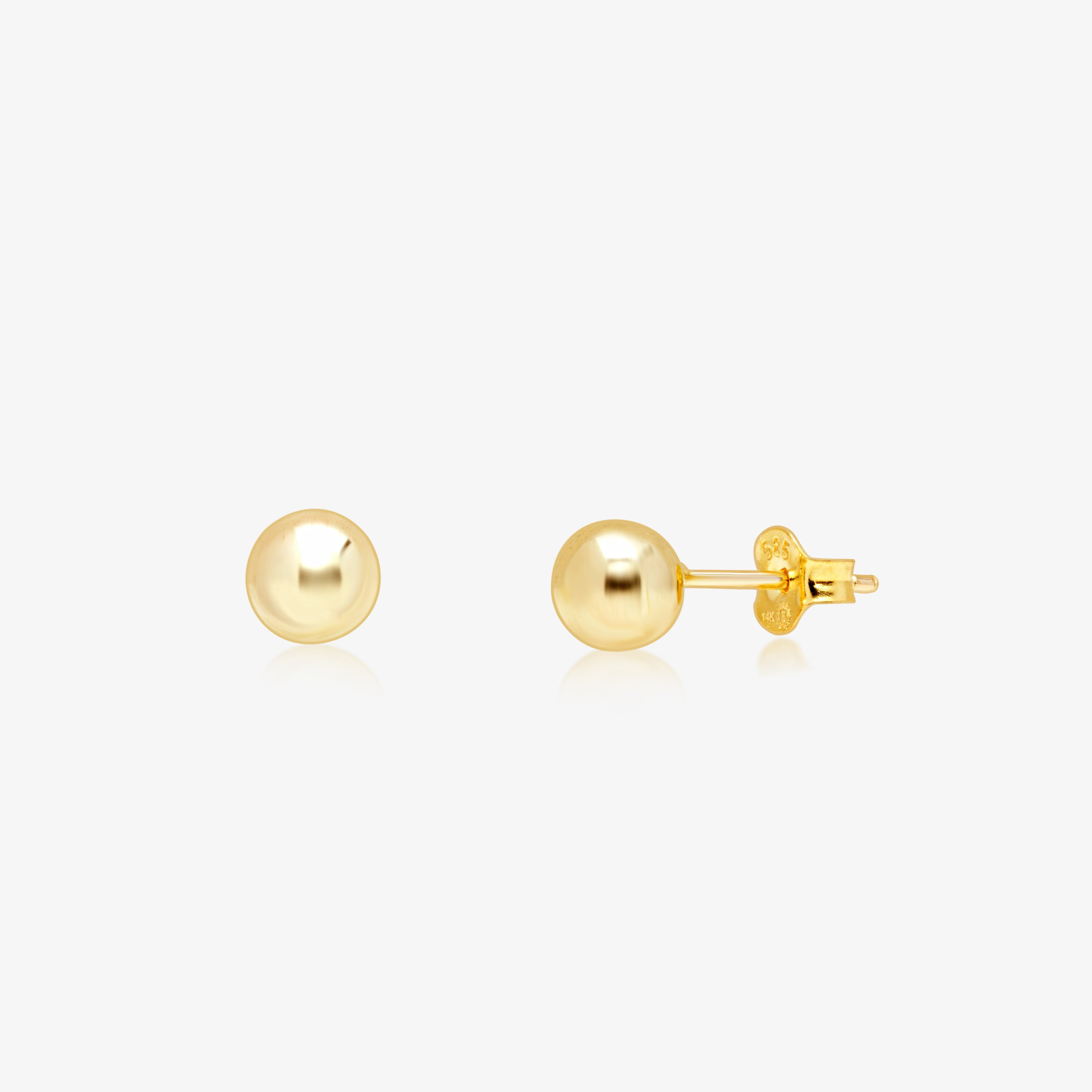 Details about  /Solid Real 14k Yellow Gold Polished Round Stud Earrings Womens Girls