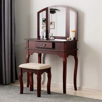 Mecor Vanity Table and Stool Set Makeup Dresser Desk w/Mirror Drawer,Espresso
