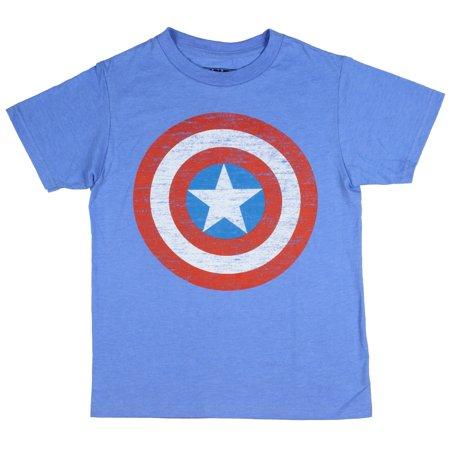 Captain America Boys' Shirt Distressed Shield Logo Licensed T-Shirt (Diy Captain America Shirt)