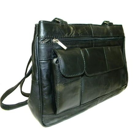 Leather In Chicago GD1750-BLK Lambskin Leather Shoulder Bag, Black (Design Lambskin Leather Belt Bag)