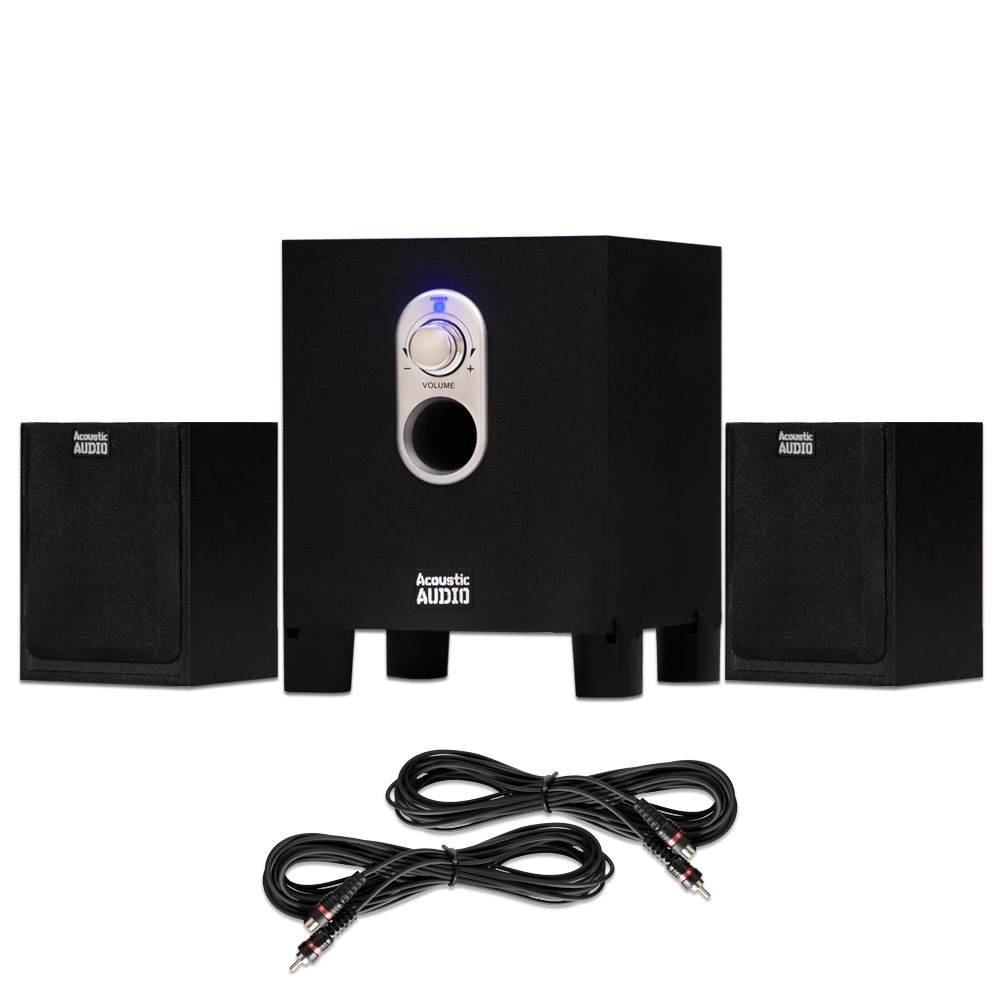 Acoustic Audio AA2101 Home 2.1 Speaker System with 2 Extension Cables for Multimedia or Computer