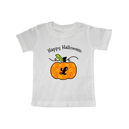 Happy Halloween Pumpkin letter L Baby T-Shirt](Happy Halloween Baby Hazel)