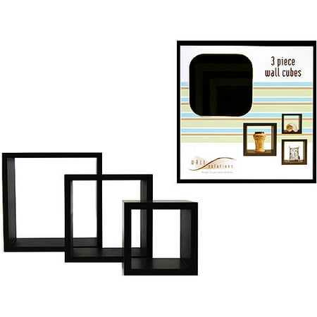 Pleasant 3 Piece Wall Cube Shelves Black Home Interior And Landscaping Ologienasavecom