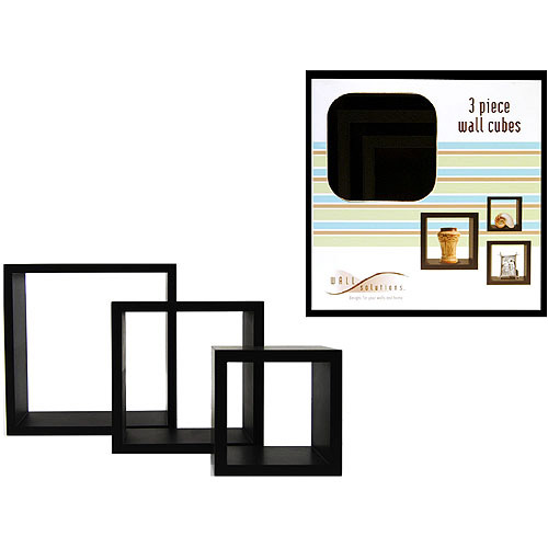 3-Piece Wall Cube Shelves, Black