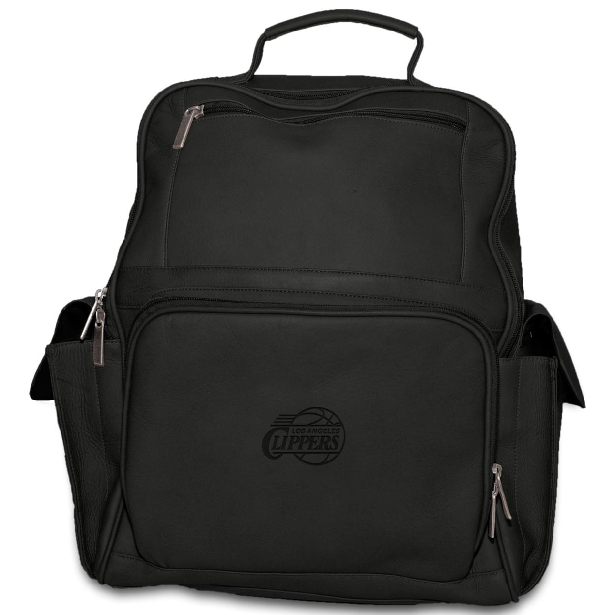 Pangea Black Leather Large Computer Backpack - Los Angeles Clippers Los Angeles Clippers PANGBKTLACBKB