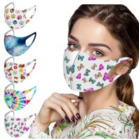 TOYFUNNY Adult Mask Printed Mask For Protection Washable Face Mask 5Pc