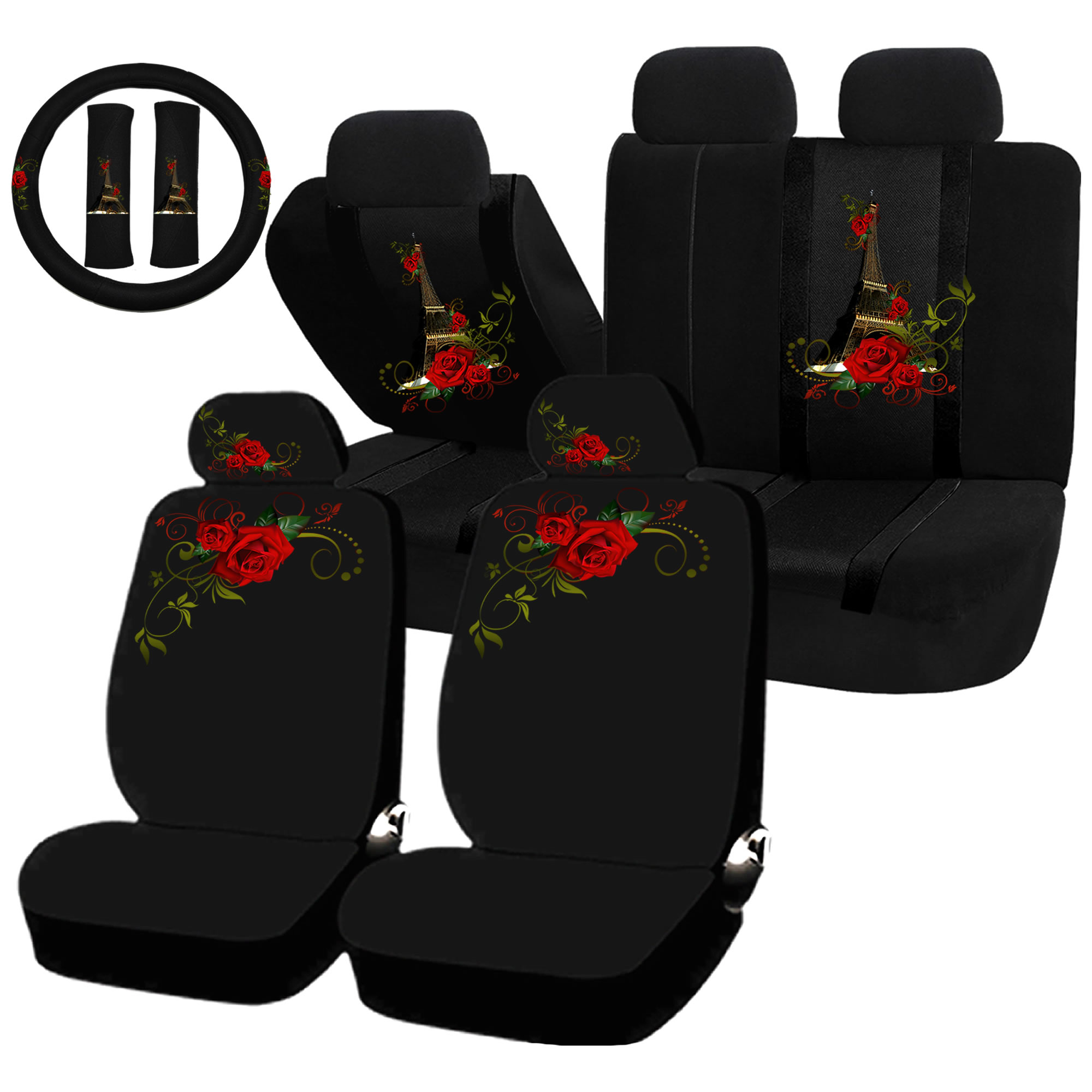 22PC Paris in Love Eiffel Tower Red Flower Seat Covers & Steering Wheel Set Universal Car Truck SUV