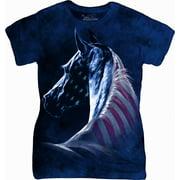 Blue Cotton Patriotic Horse Head Design Novelty Womens T-Shirt