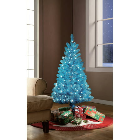 holiday time pre lit 4 teal blue artificial christmas tree clear lights - Blue Christmas Trees
