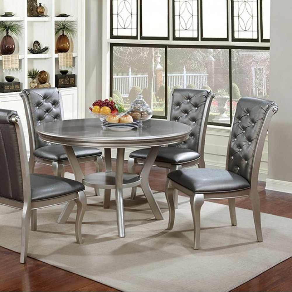 Amina Contemporary Round Dining Table, Champagne by Benzara