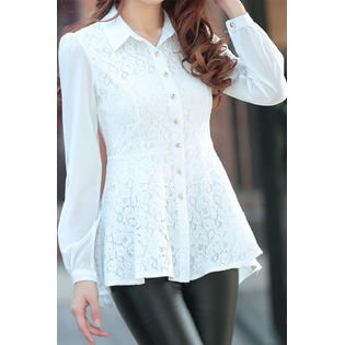 Women Lace Decorated Long Sleeves Shirt and Blouse White