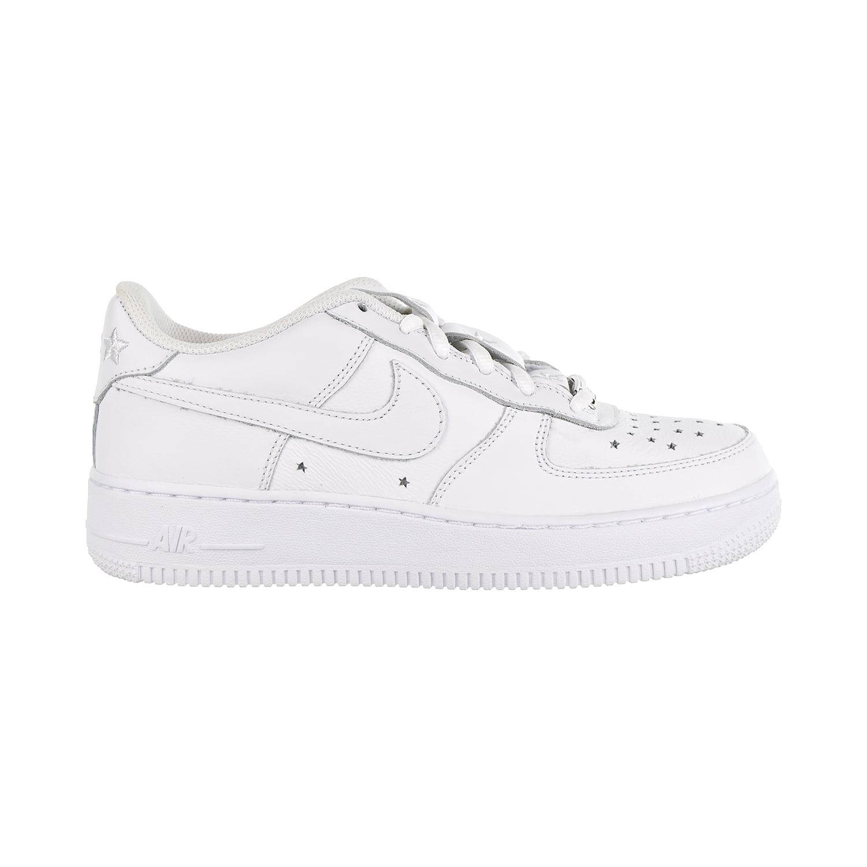 Nike Air Force 1 QS Soft Leather GS Big Kids' Shoes White-White-Navy ar0688-100 - Walmart.com