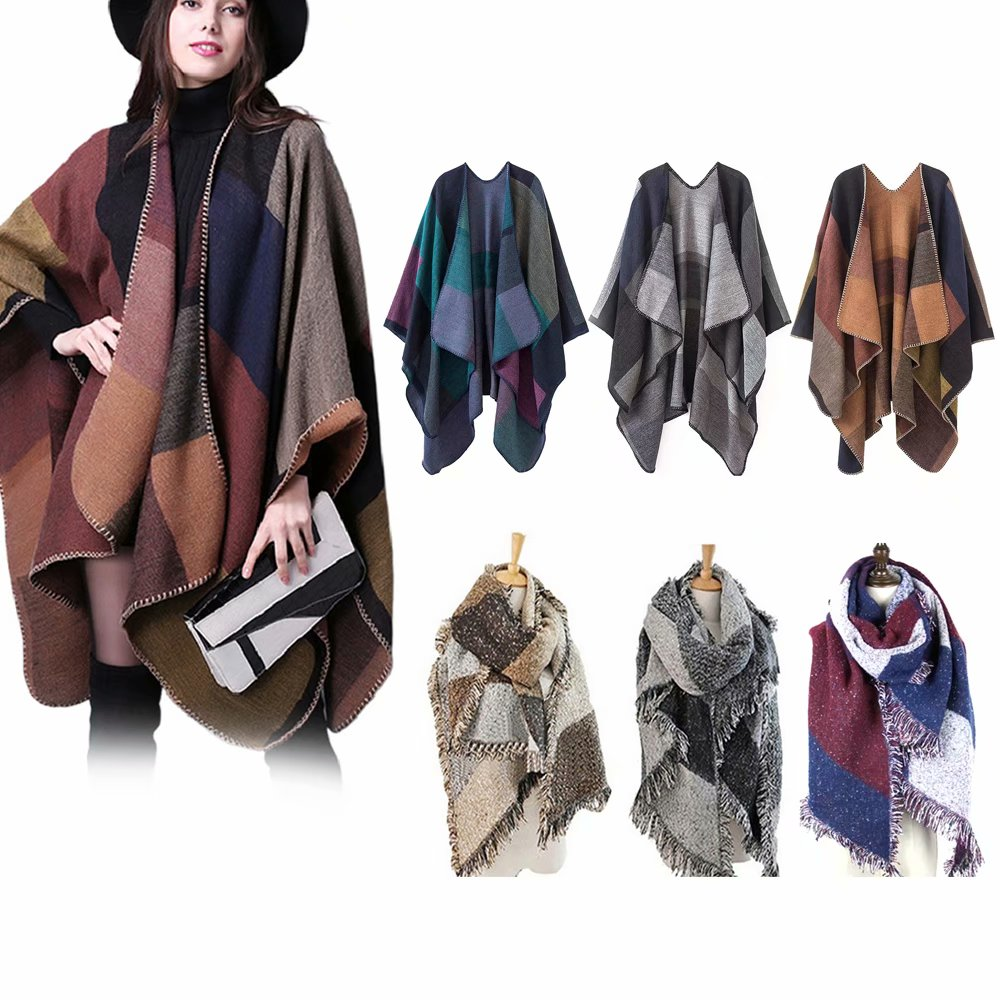Womens Reversible Knitted Poncho Cape Oversized Christmas Scarf Blanket...