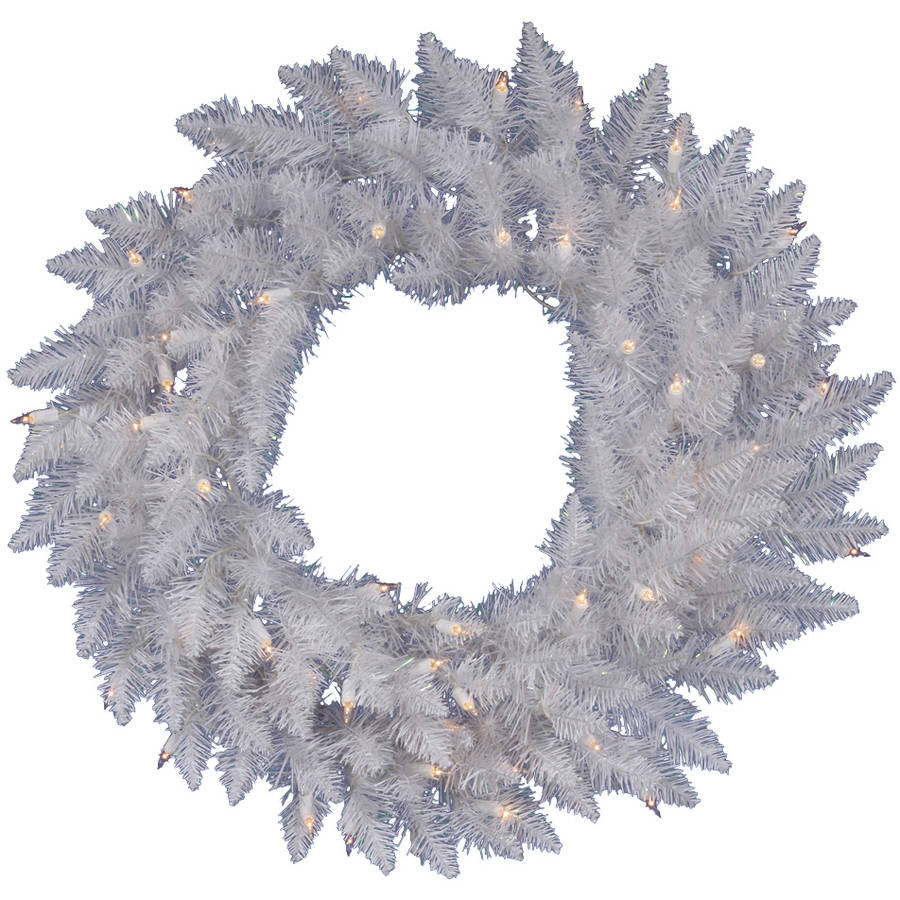 """Vickerman 36"""" Sparkle White Spruce Artificial Christmas Wreath with 100 Warm White LED Lights"""