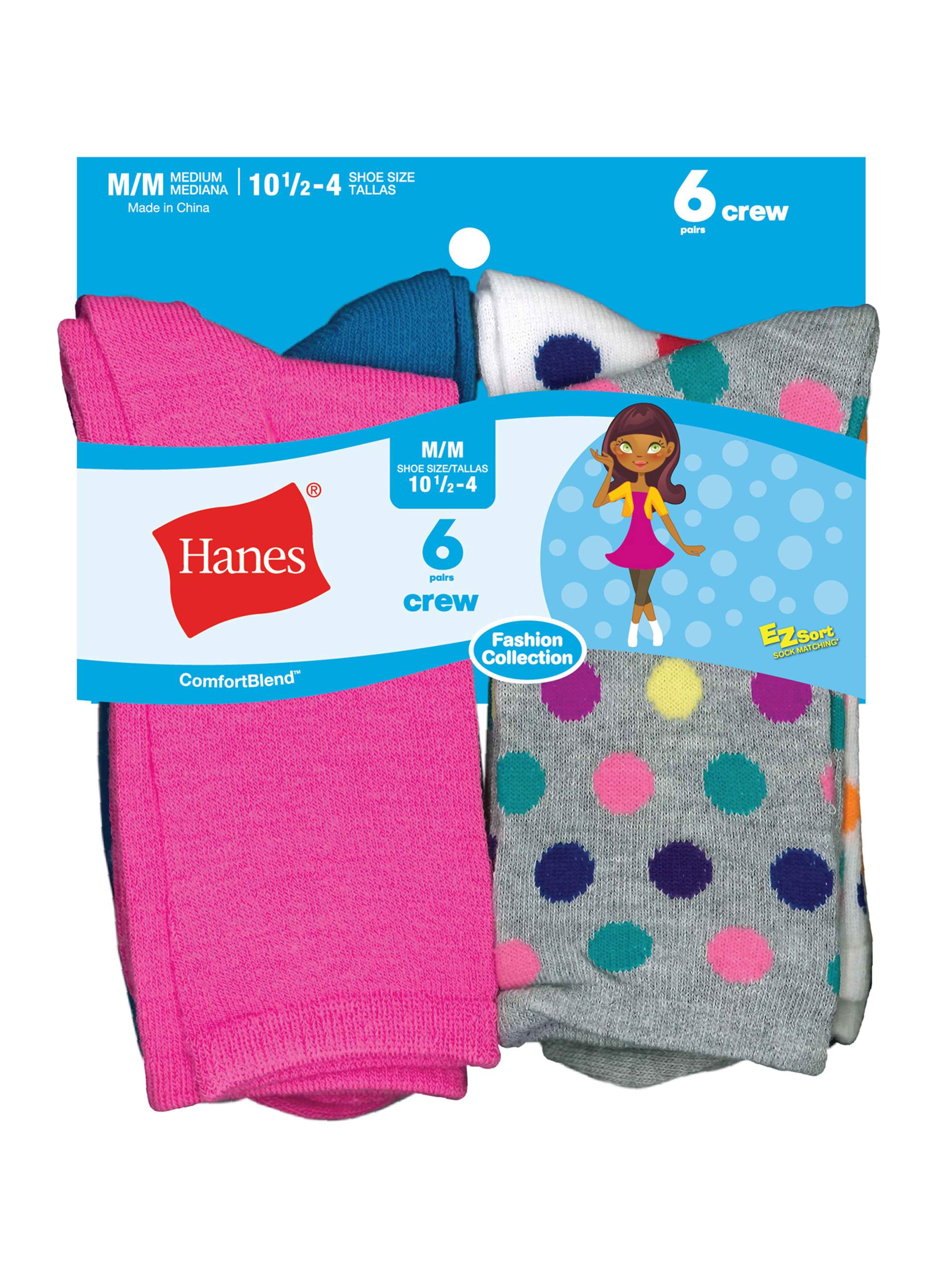 Hanes Girls' Crew Socks, 6 Pairs (Big Girls)