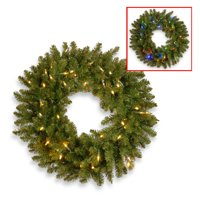 """24"""" Kingswood Fir Wreath with Battery Operated Dual Color LED Lights"""