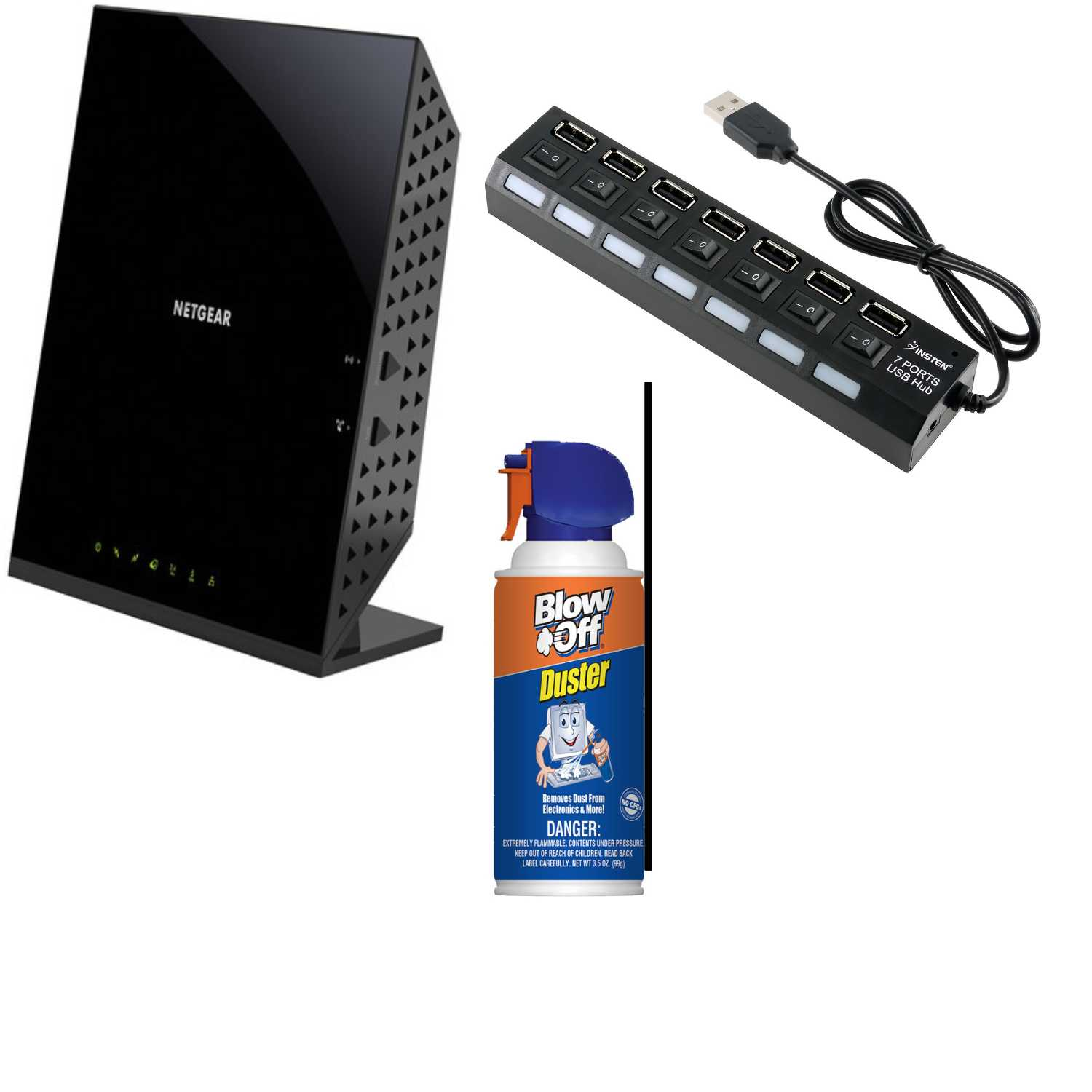 Netgear AC1600 Smart Wi-Fi Router with 7-Port USB Hub and Air Duster Bundle
